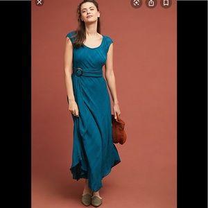 Anthropologie Blue Belted Maxi Dress